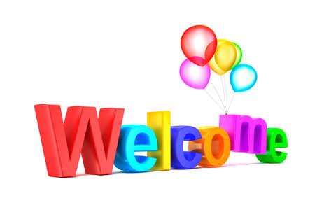 bienvenidos: Palabra colorida bienvenida con globos sobre fondo blanco