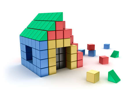 yellow roof: Construction of house from children s blocks  Isolated on white  Stock Photo