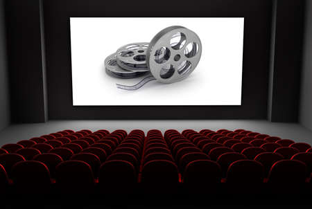 cinema screen: Cinema theater with reels of film on the screen