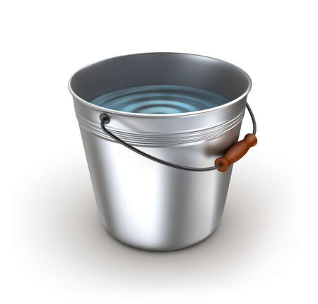 Metal bucket full of water. Isolated on white photo