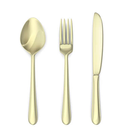 Cutlery: spoon, knife, fork. Isolated on white Stock Photo - 17235612