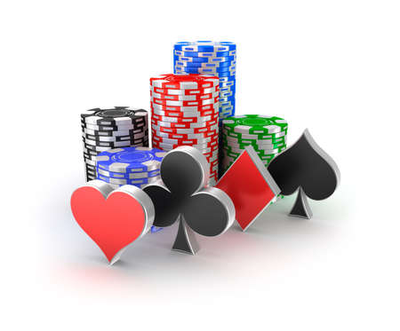 texas hold'em: Casino chips with signs in piles isolated on white