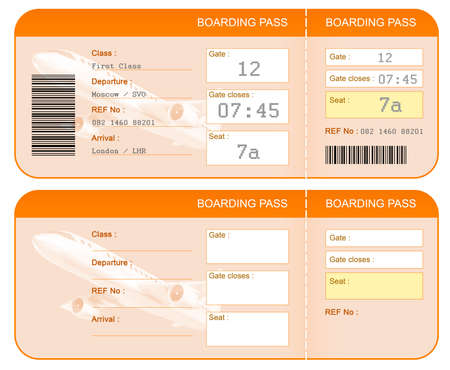 passenger airline: Boarding pass ticket concept  Both sides  Isolated  Stock Photo