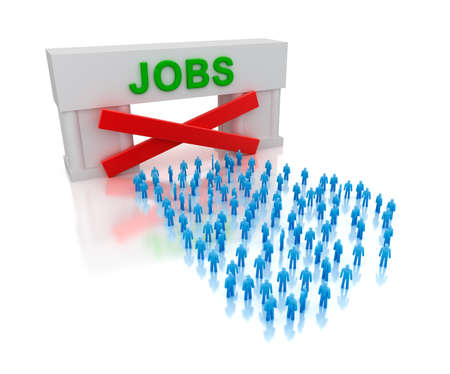 unemployed: No jobs  unemployment  Isolated on white concept Stock Photo