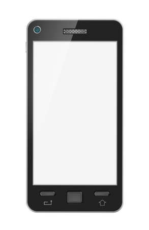 Abstract mobile phone with blank screen  Isolated  My design  photo