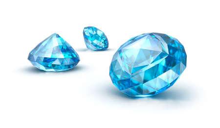 edelstenen: Blauwe edelstenen geïsoleerd op wit Saffier Topaas Tanzanite Stockfoto