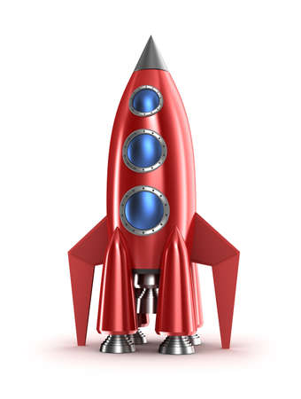 spacecraft: Retro red rocket concept  Isolated on white