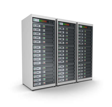 server farm: Server grid or render farm  Isolated on white