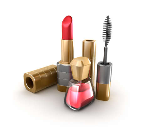 vanity: Lipstick, mascara, nail polish  Makeup items set  Isolated