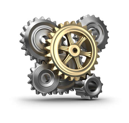 Business mechanism  Cogs and gears  Isolated Stock Photo - 17403632