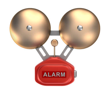 ringer: Alarm bell ringer  Isolated on white Stock Photo