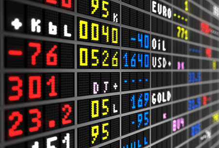 stock ticker board: Colored stock ticker board on black