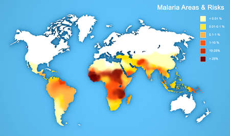 malaria: Map of malaria disease spread