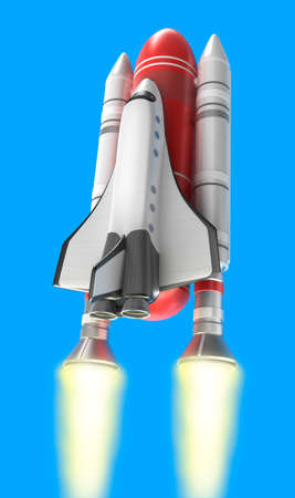 booster: Shuttle launch on blue background  My own design  Stock Photo