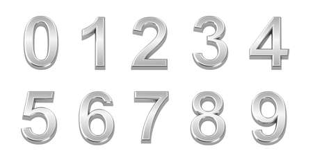 number 9: Chrome numbers set from 0 to 9