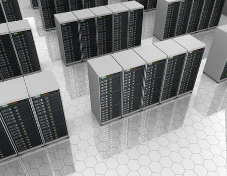 Datacenter  server room with server clusters  Stock Photo
