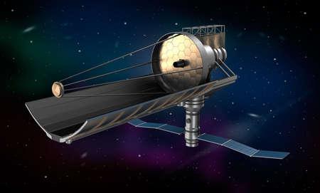 refracting: Space telescope in orbit Stock Photo