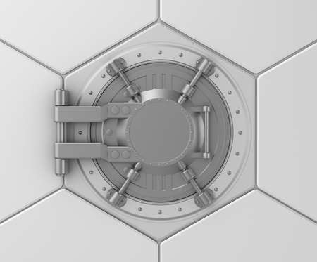 Bank vault safe door concept photo