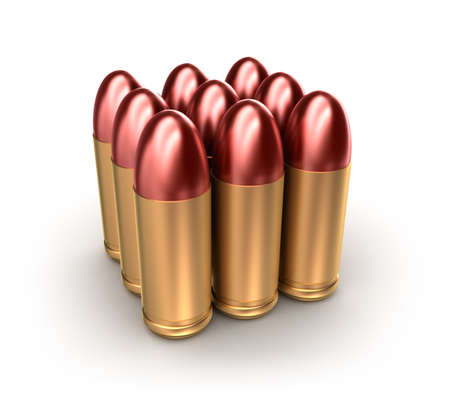 munition: Pack of ammo catridges with bullets over white