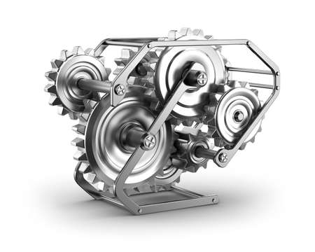 machined: Gears and cogs - mechamism in metal frame