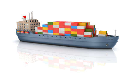 container port: Cargo container ship Stock Photo