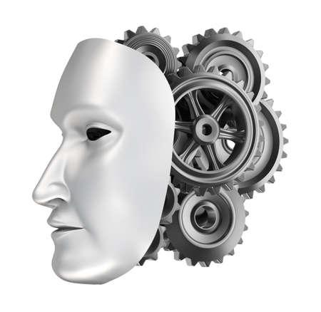 cyborg: robot face - gear brains  Stock Photo