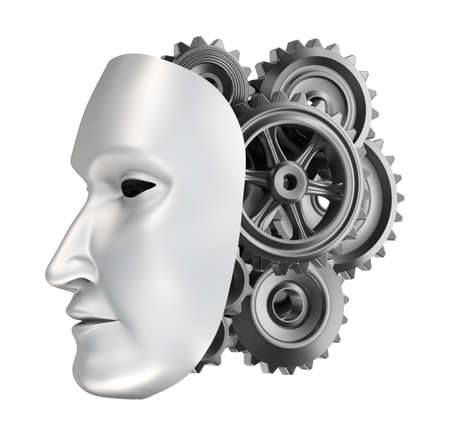 robot face - gear brains  Stock Photo
