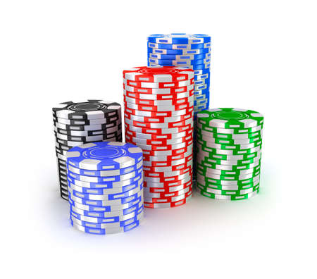 pile of cash: Casino chips in piles