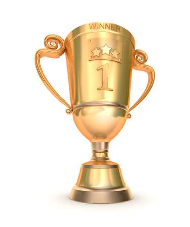 winning first: Golden trophy cup