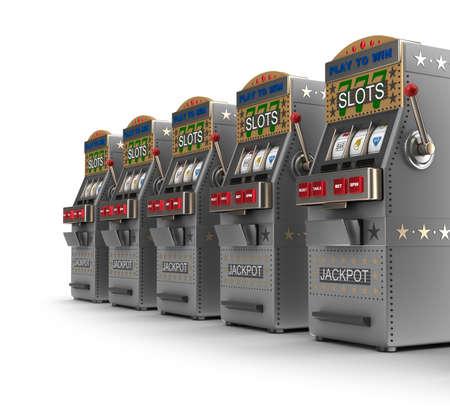 lottery win: Set of slot machines Stock Photo