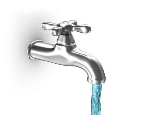 llave de agua: El agua del grifo con agua corriente Foto de archivo