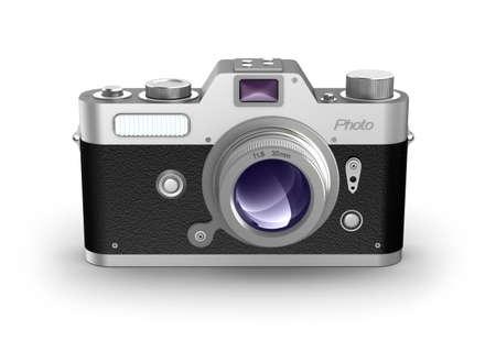 reflex camera: Retro photo camera  Front view  Stock Photo
