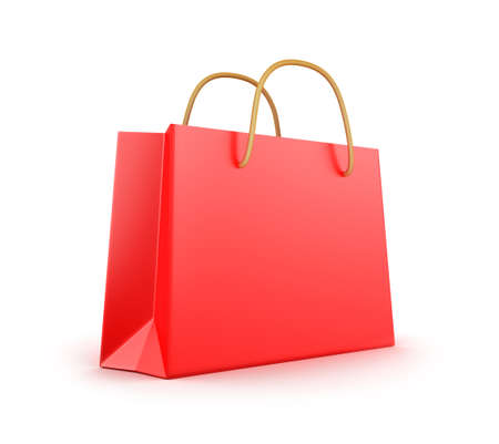 Red classic shopping bag Stock Photo - 17964740