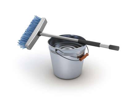 wet cleaning: Cleaning equipment  Bucket and mop
