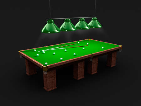 billiards tables: Pool table with light, billiard balls and cues