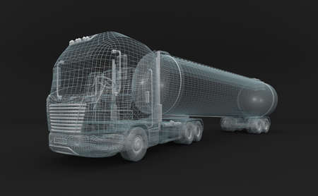 wire mesh: Semitransparent fuel tanket truck