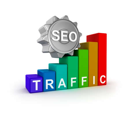 optimize: SEO concept with colorful graph Stock Photo