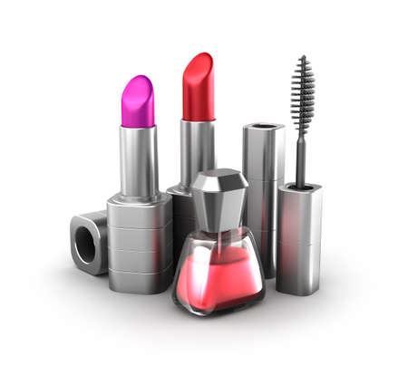 Beauty products  lipstick, nail polish and mascara photo