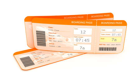 airline: Airplane boarding pass tickets.