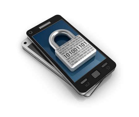 protegido: Smartphone con el concepto de bloqueo de seguridad Foto de archivo