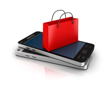 Mobile phone with shopping bag  Online shopping concept  Stock Photo - 18345888