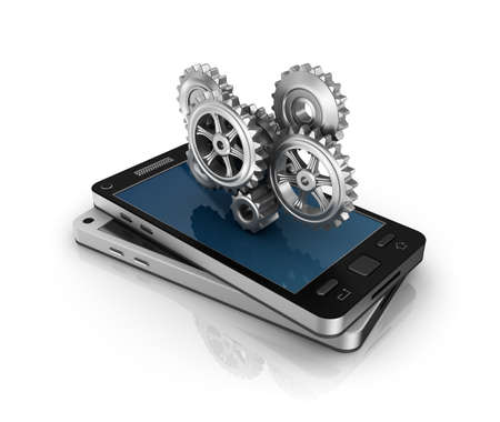mobile application: Mobile phone and gears  Application development concept