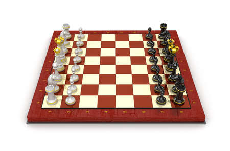 Chess pieces board  All pieces in starting position Stock Photo - 18345874