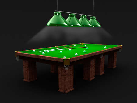 8 ball billiards: Billiard table in the black room Stock Photo