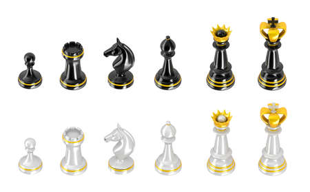 Template of chess pieces  Perspective view Stock Photo - 18848994