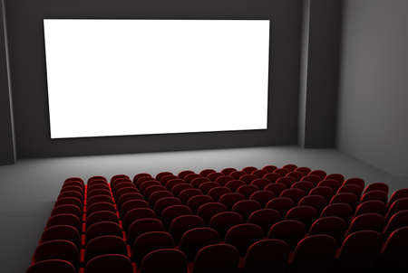 Movie theatre interior  Isolated white screen photo