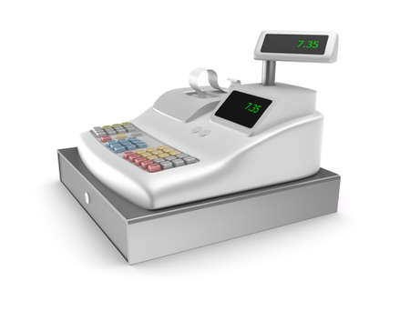 Cash register on white background Stock Photo