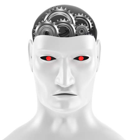 robot head: Android face - gear brains  Stock Photo