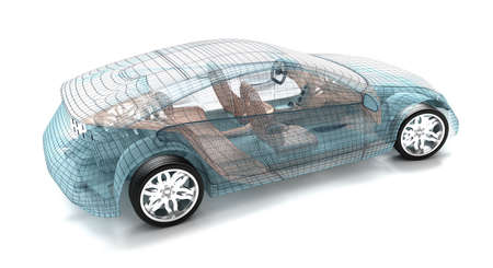 wire mesh: Car design, wire model  My own design  Stock Photo
