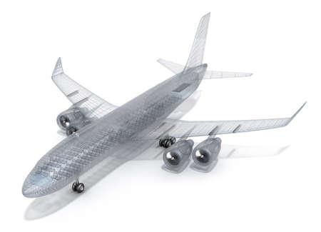 Vliegtuig draad model, geïsoleerd op wit mijn eigen ontwerp Stockfoto